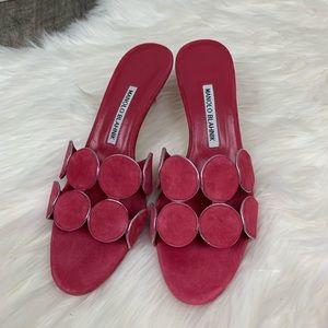 Manolo Blahnik circle-cut suede mule sandal heel